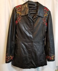 Kasper boho floral black embroidered leather jacke